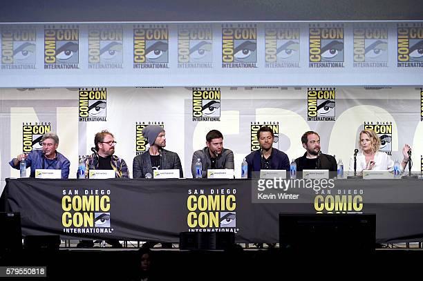 Producer/director Robert Singer writer/producer Andrew Dabb actors Jared Padalecki Jensen Ackles Misha Collins Mark Sheppard and Samantha Smith...