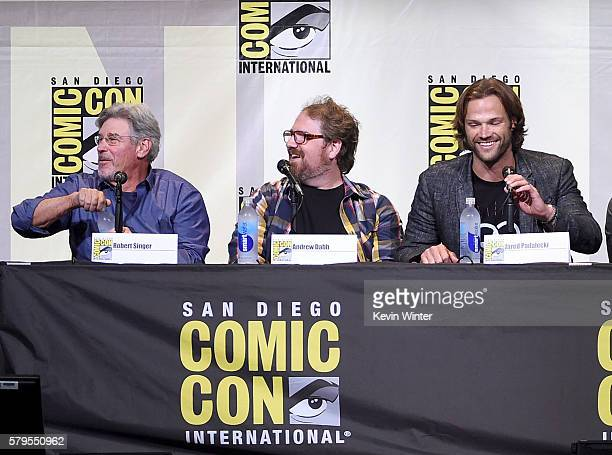 Producer/director Robert Singer writer/producer Andrew Dabb and actor Jared Padalecki attend the 'Supernatural' Special Video Presentation And QA...