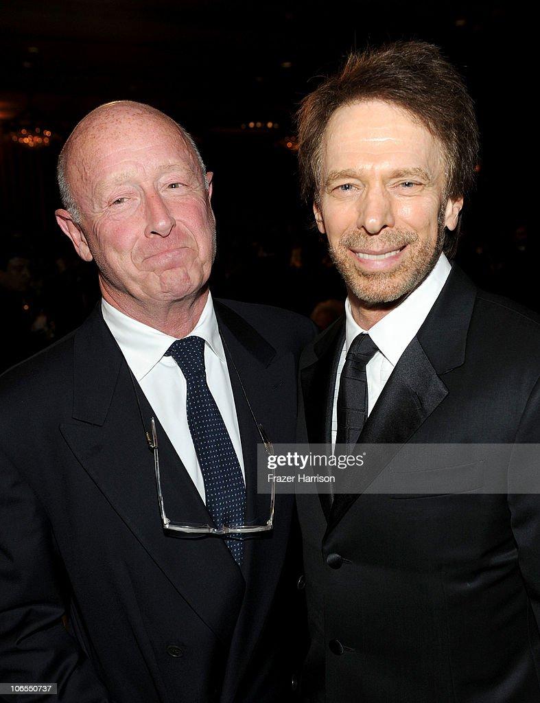 Producer/director Tony Scott and producer Jerry Bruckheimer attend the BAFTA Los Angeles 2010 Britannia Awards held at the Hyatt Regency Century...