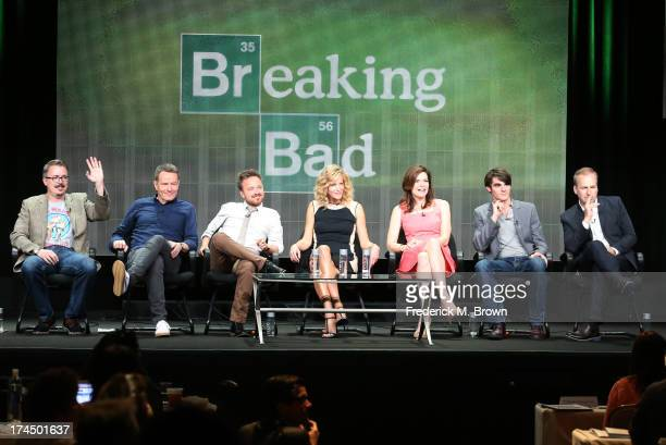 Producer/director Vince Gilligan and actors Bryan Cranston Aaron Paul Anna Gunn Betsy Brandt RJ Mitte and Bob Odenkirk speak onstage during the...