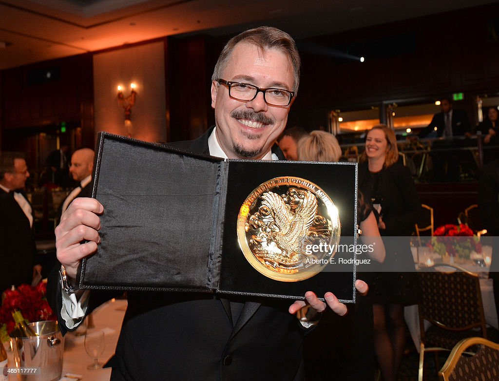 Producer-director <a gi-track='captionPersonalityLinkClicked' href=/galleries/search?phrase=Vince+Gilligan&family=editorial&specificpeople=4360133 ng-click='$event.stopPropagation()'>Vince Gilligan</a>, winner of the Outstanding Directorial Achievement in Dramatic Series for the 'Breaking Bad' episode 'Felina,' appears at the 66th Annual Directors Guild Of America Awards held at the Hyatt Regency Century Plaza on January 25, 2014 in Century City, California.