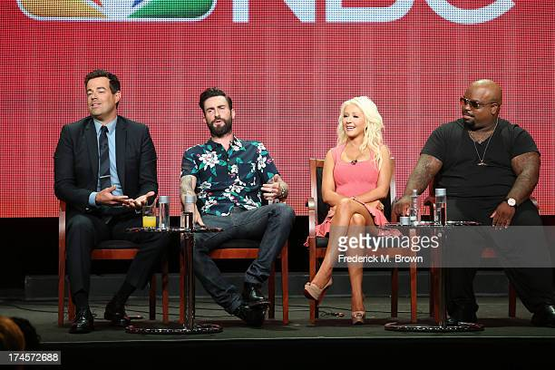 Producer/Host Carson Daly and coaches Adam Levine Christina Aguilera and CeeLo Green speak onstage during 'The Voice' panel discussion at the NBC...