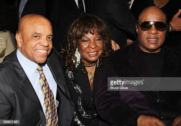 Producer/Motown CEO Berry Gordy Martha Reeves and Stevie Wonder attend the 'Motown The Musical' Motown Family Night afterparty at the Edison Ballroom...