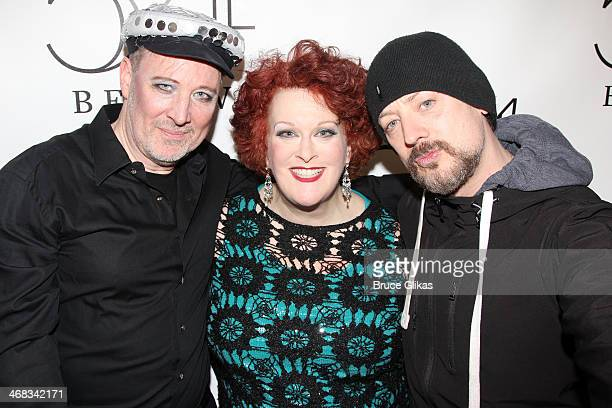 Producer/Musical Director John McDaniel Liz McCartney and Boy George attend the 'TabooTen Years Later' reunion concert at 54 Below on February 9 2014...