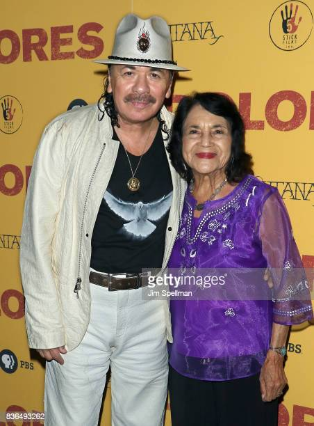 Producer/musician Carlos Santana and labor leader/activist Dolores Huerta attend the 'Dolores' New York premiere at The Metrograph on August 21 2017...