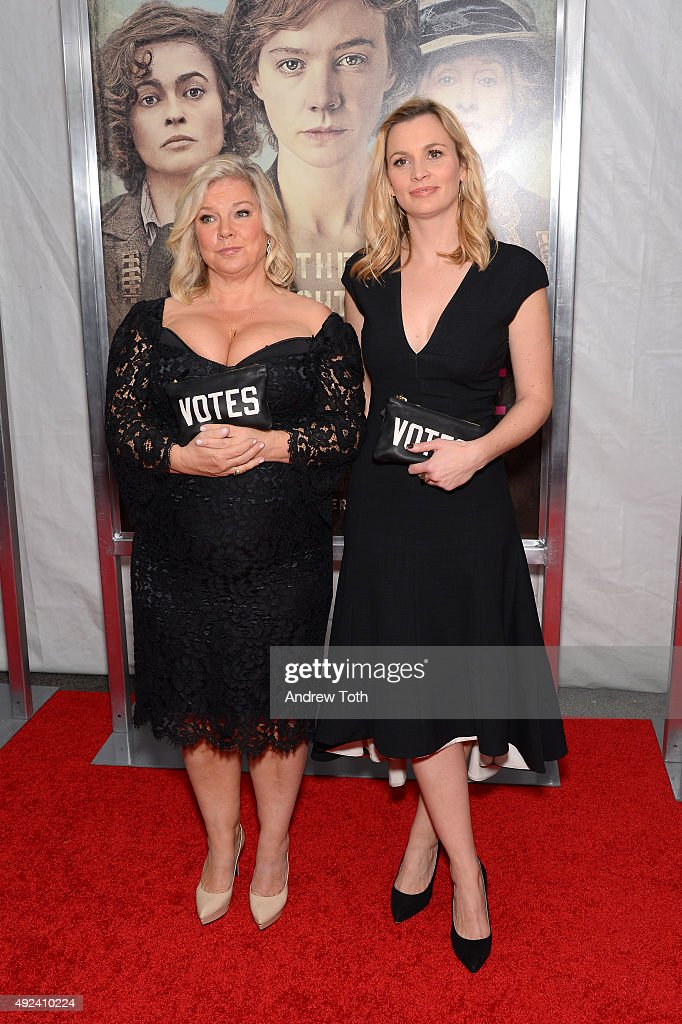 Producers Alison Owen (L) and Faye Ward attend the 'Suffragette' New York premiere at Paris Theatre on October 12, 2015 in New York City.