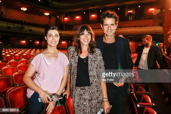 Producers and award winners Marie SteinmannTykwer Sarika Hemi Lakhani and Tom Tykwer during the First Steps Awards 2016 at Stage Theater on September...