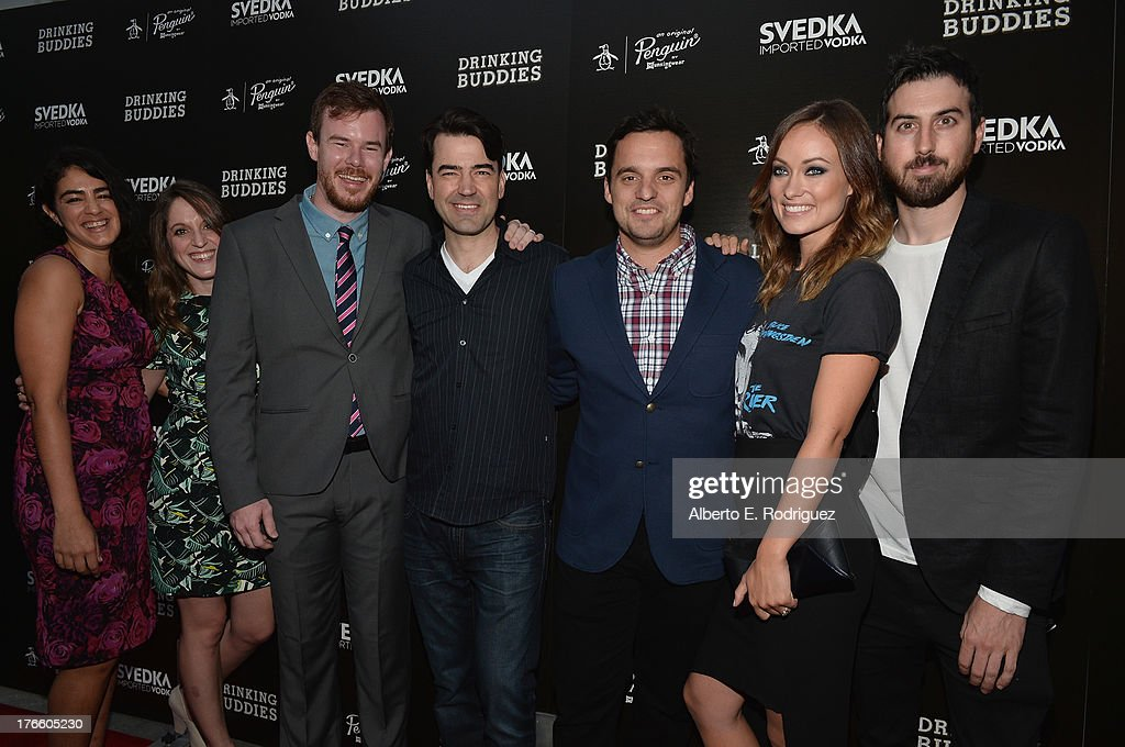 Producers Andrea Roa, Alicia Van Couvering, director Joe Swanberg, actors Ron Livingston, Jake Johnson,Olivia Wilde and Ti West arrive for the screening of Magnolia Pictures' 'Drinking Buddies' at Umami Burger Hollywood on August 15, 2013 in Hollywood, California.