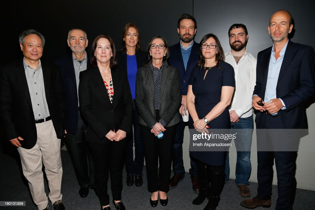 Producers Ang Lee, Michael G. Wilson, Kathleen Kennedy, Kathryn Bigelow, Donna Gigliotti, Ben Affleck, Stacey Sher, Josh Penn, and Eric Fellner attend the Producers Guild Awards Nominees Breakfast at the Landmark Theater on January 26, 2013 in Los Angeles, California.