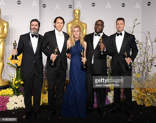 Producers Anthony Katagas Jeremy Kleiner Dede Gardner Brad Pitt and director Steve McQueen winners of Best Picture for '12 Years a Slave' pose in the...
