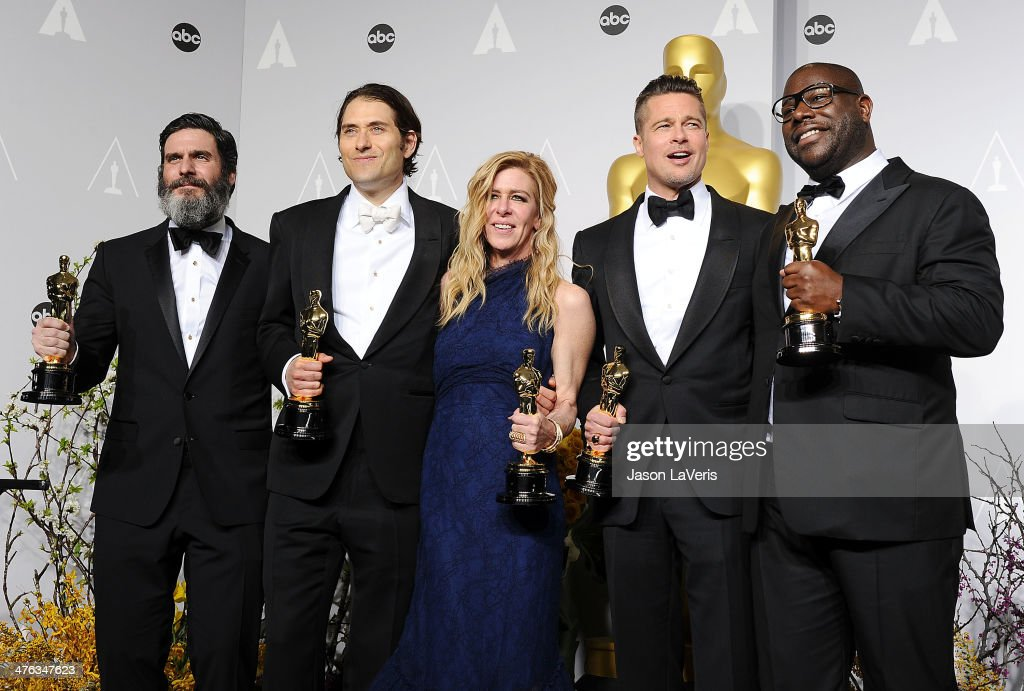 Producers Anthony Katagas, Jeremy Kleiner, Dede Gardner, Brad Pitt and director Steve McQueen, winners of Best Picture for '12 Years a Slave', poses in the press room at the 86th annual Academy Awards at Dolby Theatre on March 2, 2014 in Hollywood, California.