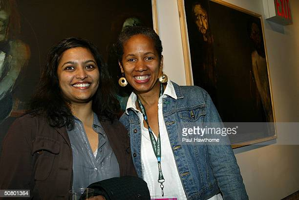 19 producers Anura Idupuganti and Stacey Holman pose at the Kodak Producers' Reception during the 2004 Tribeca Film Festival at Tribeca Performing...