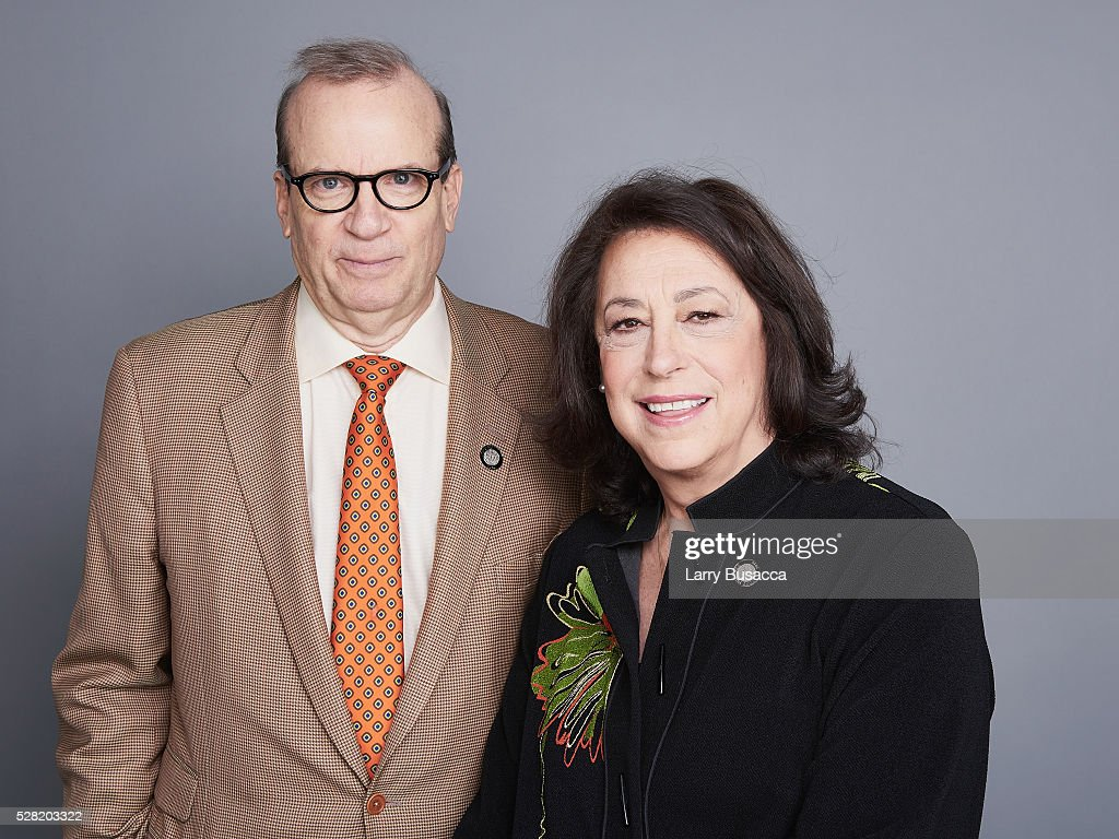 Producers Barry Grove (L) and Lynn Meadow pose for a portrait at the 2016 Tony Awards Meet The Nominees Press Reception on May 4, 2016 in New York City.