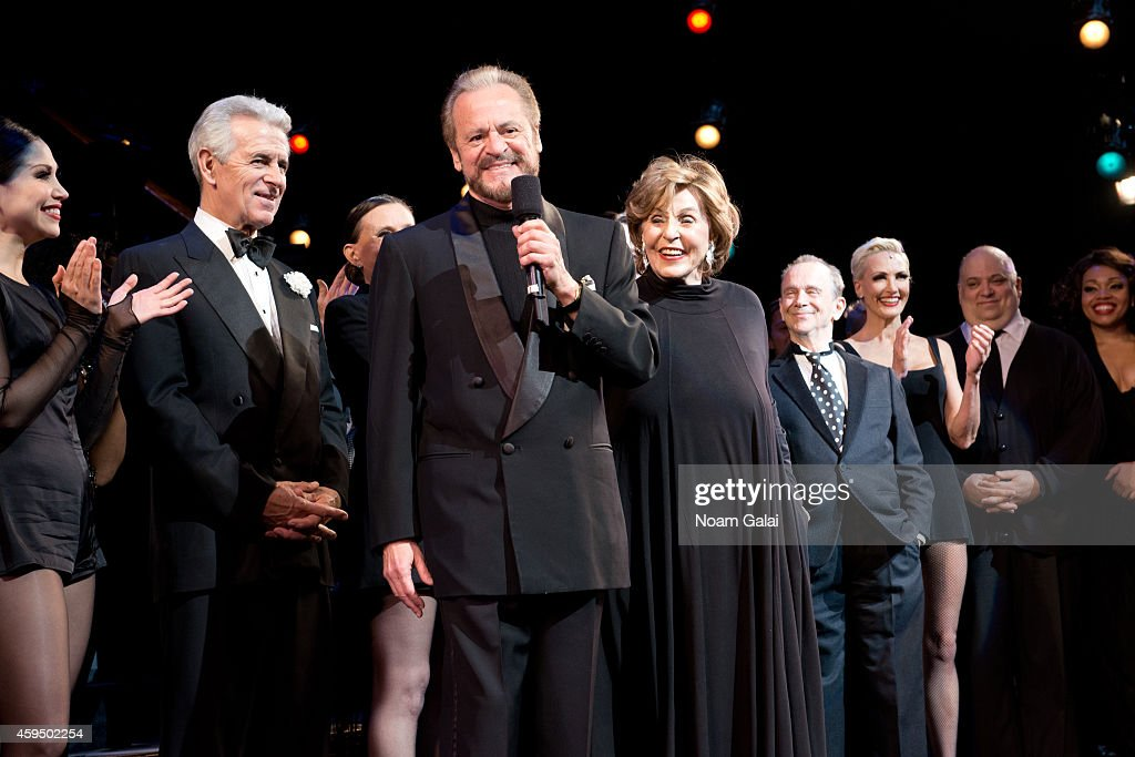 Producers Barry Weissler and Fran Weissler speak on stage at the 7,486th performance of 'Chicago', the second longest running Broadway show of all time at Ambassador Theater on November 23, 2014 in New York City.