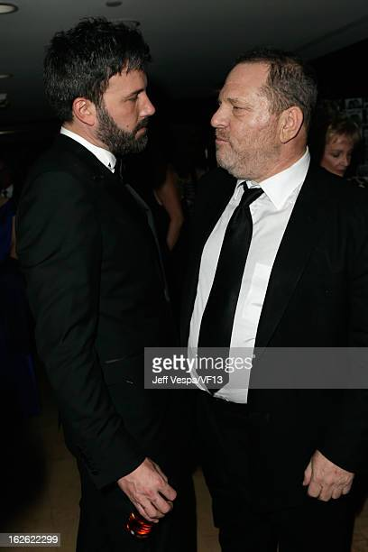 Producers Ben Affleck and Harvey Weinstein attend the 2013 Vanity Fair Oscar Party hosted by Graydon Carter at Sunset Tower on February 24 2013 in...