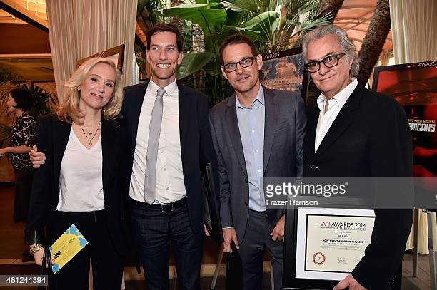 Producers Betsy Beers Pete Nowalk Scott Collins and director Bill D'Elia pose with award during the 15th Annual AFI Awards at Four Seasons Hotel Los...