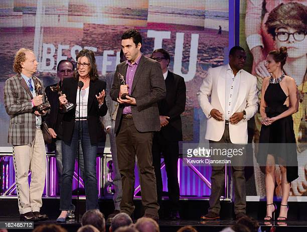 Producers Bruce Cohen Donna Gigliotti and Jonathan Gordon and actors Chris Tucker and Jennifer Lawrence accept the Best Feature award for 'Silver...