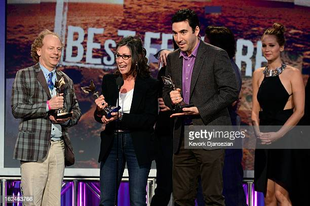 Producers Bruce Cohen Donna Gigliotti and Jonathan Gordon and actress Jennifer Lawrence accept the Best Feature award for 'Silver Linings Playbook'...