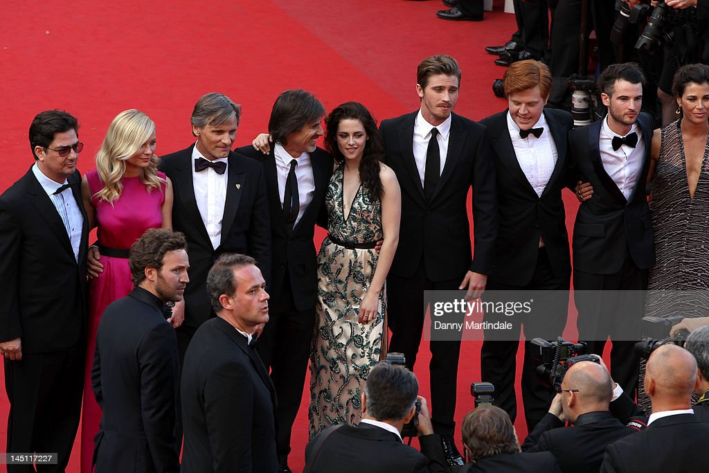 Producers Charles Gillibert, Rebecca Yeldham, Actors Garret Hedlund, director <a gi-track='captionPersonalityLinkClicked' href=/galleries/search?phrase=Walter+Salles&family=editorial&specificpeople=213053 ng-click='$event.stopPropagation()'>Walter Salles</a>, actors Tom Sturridge, <a gi-track='captionPersonalityLinkClicked' href=/galleries/search?phrase=Kristen+Stewart&family=editorial&specificpeople=2166264 ng-click='$event.stopPropagation()'>Kristen Stewart</a>, Danny Morgan, <a gi-track='captionPersonalityLinkClicked' href=/galleries/search?phrase=Kirsten+Dunst&family=editorial&specificpeople=171590 ng-click='$event.stopPropagation()'>Kirsten Dunst</a>, producer Roman Coppola, actor Sam Riley and Viggo Mortensen attends the 'On The Road' Premiere during the 65th Annual Cannes Film Festival at Palais des Festivals on May 23, 2012 in Cannes, France.