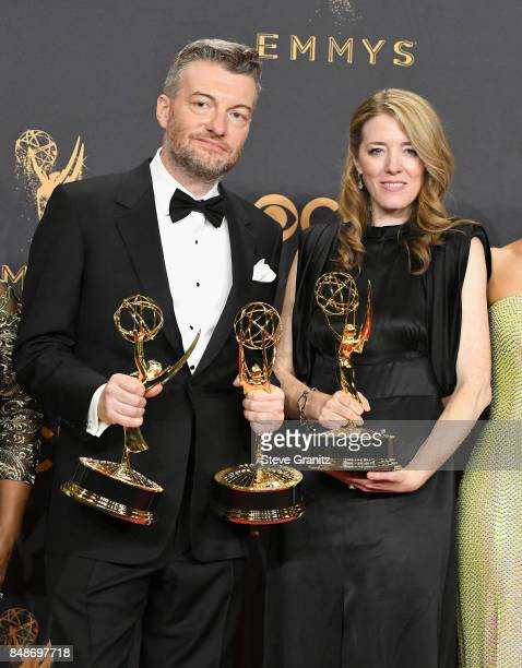 Producers Charlie Brooker and Annabel Jones winners of the award for Outstanding Television Movie for 'Black Mirror' poses in the press room during...