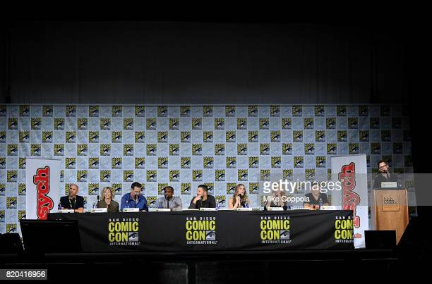 Producers Chris Henze and Kelly Kulchak writer/producer Steve Franks actors Dule Hill James Roday Maggie Lawson Kirsten Nelson and Corbin Bernsen and...