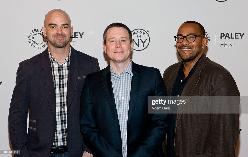 Producers Craig Sweeny, Rob Doherty and Carl Beverly attend the 'Elementary' panel during 2013 PaleyFest: Made In New York at The Paley Center for Media on October 5, 2013 in New York City.