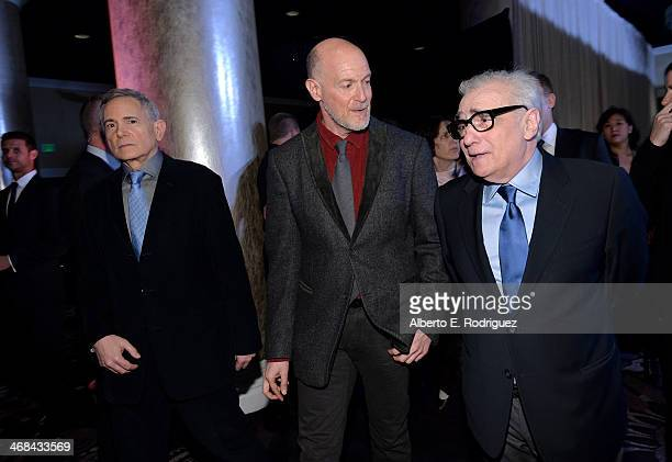 Producers Craig Zadan and Neil Meron and director Martin Scorsese attend the 86th Academy Awards nominee luncheon at The Beverly Hilton Hotel on...