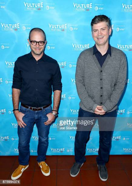 Producers Damon Lindelof and Michael Schur attend the 'Damon Lindeolf and Mike Schur Discuss TV panel part of Vulture Festival LA Presented by ATT at...