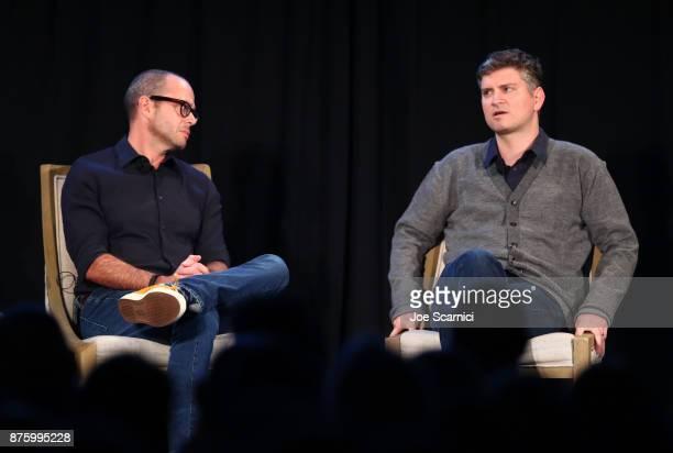 Producers Damon Lindelof and Michael Schur speak onstage during the 'Damon Lindelof and Mike Schur Discuss TV ' panel part of Vulture Festival LA...