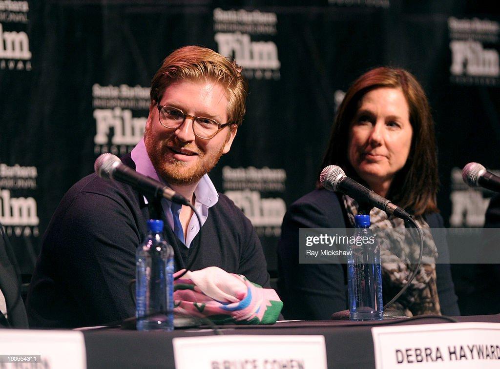 Producers Dan Janvey and Kathleen Kennedy attend the 28th Santa Barbara International Film Festival Producers Panel on February 1, 2013 in Santa Barbara, California.