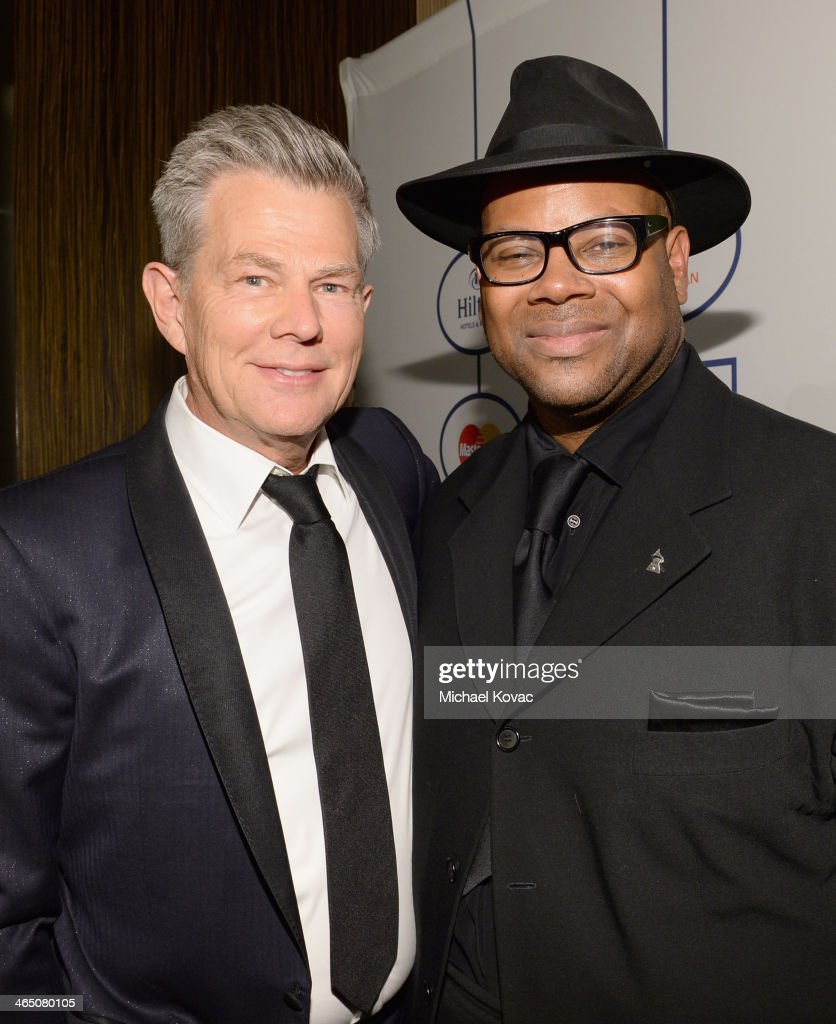 Producers David Foster and Jimmy Jam attend the 56th annual GRAMMY Awards PreGRAMMY Gala and Salute to Industry Icons honoring Lucian Grainge at The...