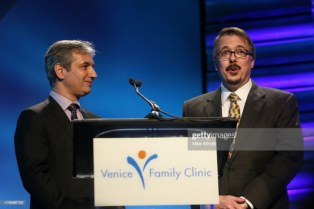 Producers David Shore (L) and Vince Gilligan speak onstage at the Venice Family Clinic's 32nd Annual Silver Circle Gala held at The Beverly Hilton Hotel on March 3, 2014 in Beverly Hills, California.