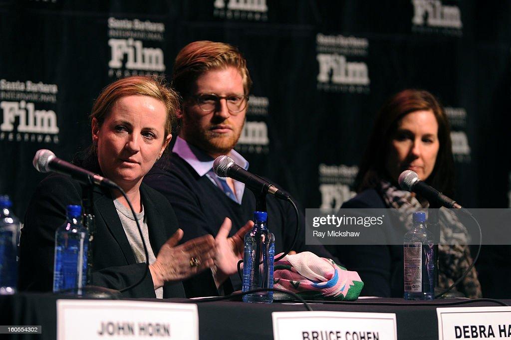 Producers Debra Hayward, Dan Janvey and Kathleen Kennedy attend the 28th Santa Barbara International Film Festival Producers Panel on February 1, 2013 in Santa Barbara, California.