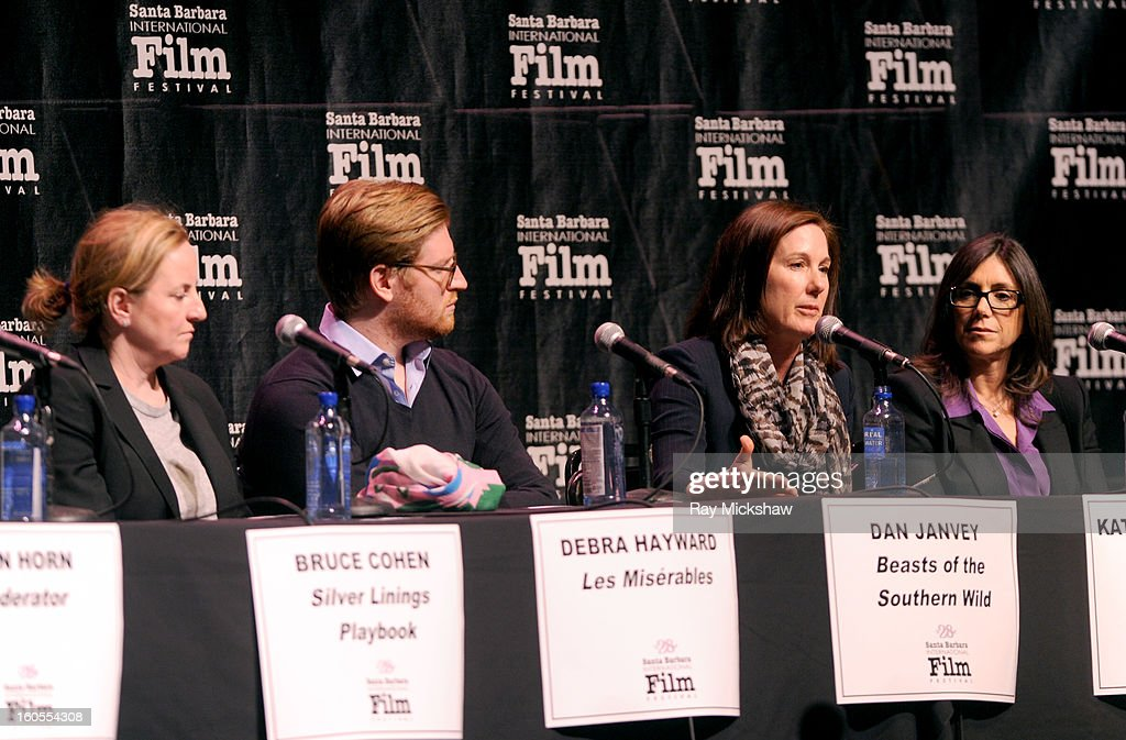 Producers Debra Hayward, Dan Janvey, Kathleen Kennedy and <a gi-track='captionPersonalityLinkClicked' href=/galleries/search?phrase=Stacey+Sher&family=editorial&specificpeople=2082596 ng-click='$event.stopPropagation()'>Stacey Sher</a> attend the 28th Santa Barbara International Film Festival Producers Panel on February 1, 2013 in Santa Barbara, California.
