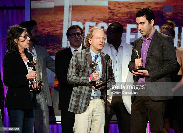 Producers Donna Gigliotti Bruce Cohen and Jonathan Gordon accept the Best Feature award for 'Silver Linings Playbook' onstage during the 2013 Film...
