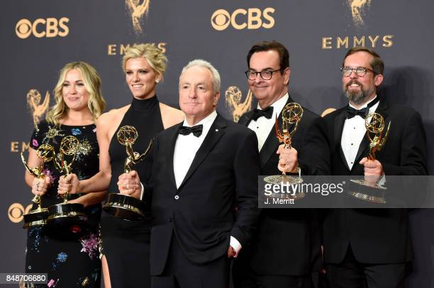Producers Erin Doyle Lindsay Shookus Lorne Michaels Steve Higgins and Erik Kenward winners of Outstanding Variety/Sketch Series for 'Saturday Night...