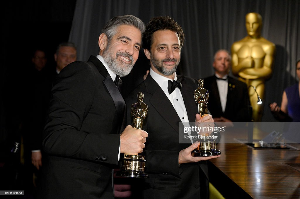 Producers George Clooney and Grant Heslov winners of the Best Picture award for 'Argo' attend the Oscars Governors Ball at Hollywood Highland Center...