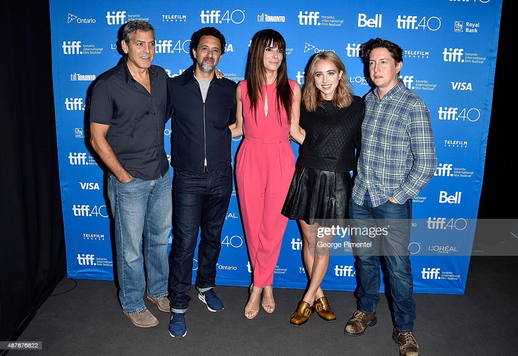 Producers George Clooney, Grant Heslov, actress/executive producer Sandra Bullock, actress Zoe Kazan and director David Gordon Green attend the 'Our Brand Is Crisis' press conference at the 2015 Toronto International Film Festival at TIFF Bell Lightbox on September 12, 2015 in Toronto, Canada.