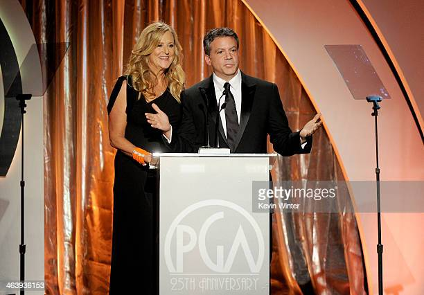 Producers Guild Awards CoChairs Lori McCreary and Michael De Luca speak onstage during the 25th annual Producers Guild of America Awards at The...