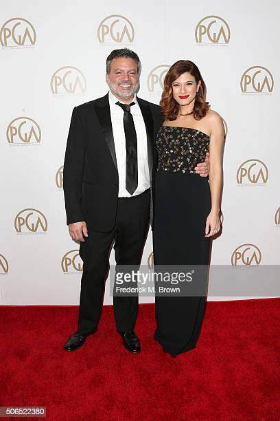 Producers Guild Of America coChair Michael De Luca and actress Angelique Madrid attend 27th Annual Producers Guild Of America Awards at the Hyatt...
