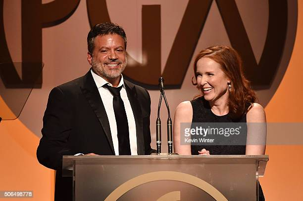 Producers Guild Of America coChairs Michael De Luca and Jennifer Todd speak onstage at the 27th Annual Producers Guild Of America Awards at the Hyatt...