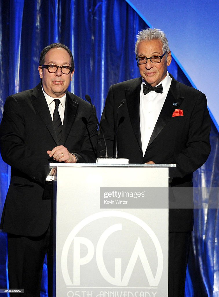 Producers Guild of America CoPresidents Mark Gordon and Hawk Koch speak onstage during the 25th annual Producers Guild of America Awards at The...