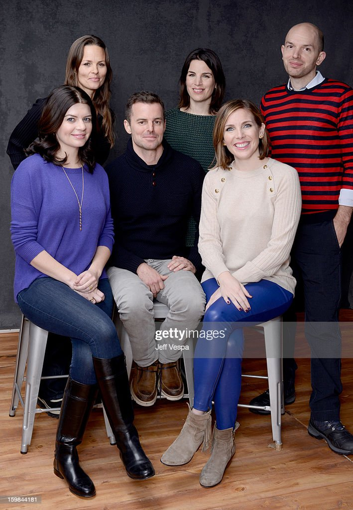 Producers Heather Rae, Elysa Koplovitz, actors <a gi-track='captionPersonalityLinkClicked' href=/galleries/search?phrase=Paul+Scheer&family=editorial&specificpeople=805513 ng-click='$event.stopPropagation()'>Paul Scheer</a> (Bottom L-R) <a gi-track='captionPersonalityLinkClicked' href=/galleries/search?phrase=Casey+Wilson&family=editorial&specificpeople=4980510 ng-click='$event.stopPropagation()'>Casey Wilson</a>, filmmaker Chris Nelson, and actress June Diane Raphael pose for a portrait during the 2013 Sundance Film Festival at the WireImage Portrait Studio at Village At The Lift on January 21 2013 in Park City, Utah.