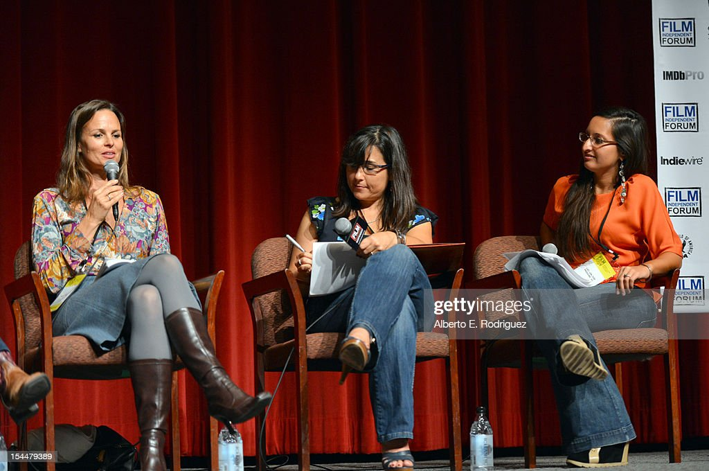 Producers Heather Rae Jennifer Deaton and Lucy Mukerjee speak onstage during Film Independent Film Forum at Directors Guild of America on October 20...