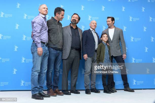 Producers Hutch Parker Simon Kinberg director James Mangoldactors Patrick Stewart Dafne Keen and Hugh Jackman attend the 'Logan' photo call during...
