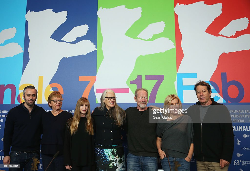 Producers Iain Canning, Philippa Campbell, actress Holly Hunter, director Jane Campion and actors Peter Mullan and Robyn Malcolm attend the 'Top Of The Lake' Press Conference during the 63rd Berlinale International Film Festival at the Grand Hyatt Hotel on February 11, 2013 in Berlin, Germany.