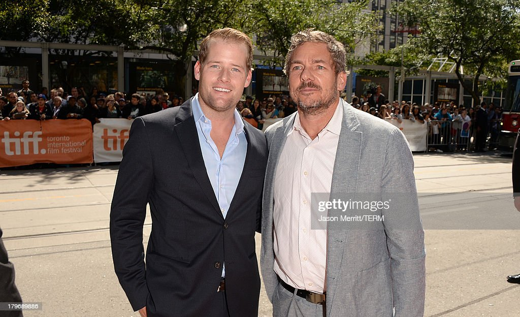 Producers Jamin O'Brien (L) and Robert Ogden Barnum arrive at 'Hateship Loveship' Premiere during the 2013 Toronto International Film Festival at Princess of Wales Theatre on September 6, 2013 in Toronto, Canada.