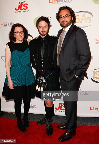 Producers Jane Espenson and Brad Bell with Director Eli Gonda at the 5th Annual Indie Series Awards at El Portal Theatre on April 2 2014 in North...