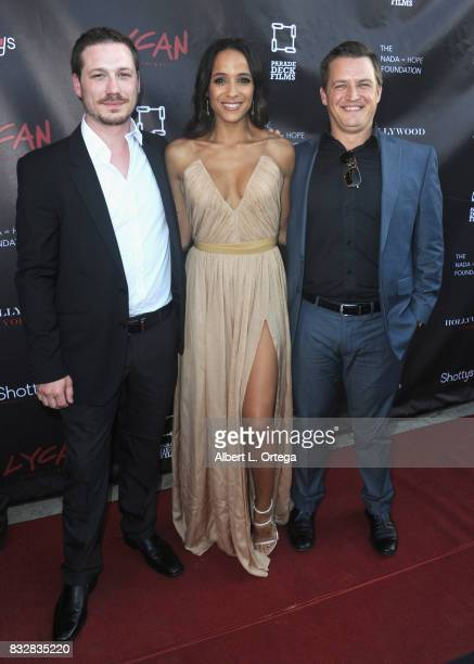 "Producers Jason Pelsey actress Dania Ramirez and Justin Pelsey arrive for the Premiere Of Parade Deck's ""Lycan"" held at Laemmle's Ahrya Fine Arts..."