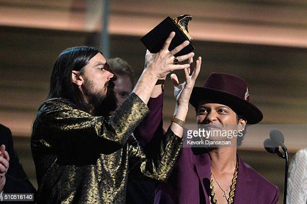 Producers Jeff Bhasker and recording artist Bruno Mars onstage during The 58th GRAMMY Awards at Staples Center on February 15 2016 in Los Angeles...